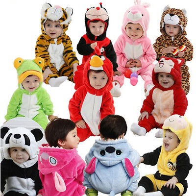 Newborn Animal Romper Baby Costume Hooded Flannel Toddler Pourim Halloween