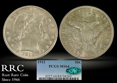 1913 Barber Half Dollar PCGS MS64 CAC