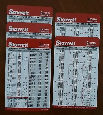 5-pack of Starrett Tap Drill Pocket Charts, Machinist Card, imperial & metric