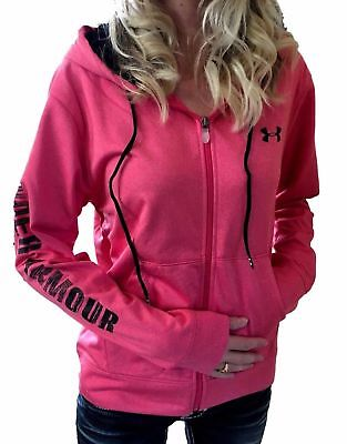 UNDER ARMOUR Women's Coldgear Pink Black Graphic Logo Hoodie Sweatshirt S M L XL