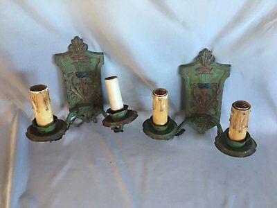 Pair Antique Sconce Wall Light Cast Iron Vtg Shabby Floral Chic Two Arm 335-17J