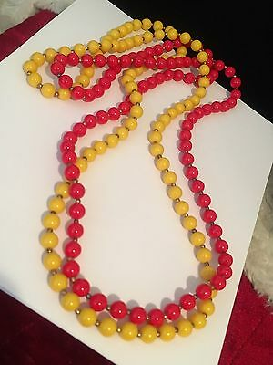 Fun Colorful Red And Yellow Acrylic Beaded 40 Inch Necklaces #hg4