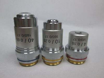 AmScope Achromatic Objectives : 4X, 10X, 40X   Lot of 3 pieces