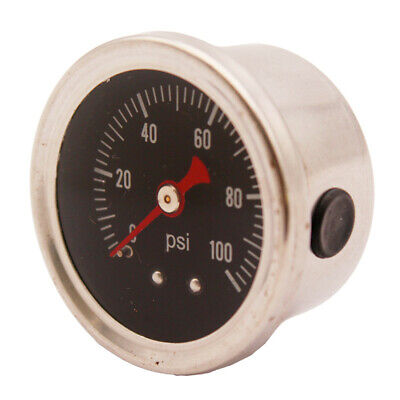Fuel Pressure Regulator gauge 0-100 PSI / bar Liquid Fill chrome fuel/oil Gauge