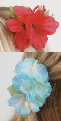 Loftus Luau Hawaiian Flower Hibiscus Hair Clips, Red Blue, One Size, 12 Pack