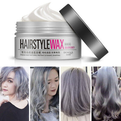 Silver Grey Unisex DIY Hair Color Wax Mud Dye Cream Temporary 100g AR1