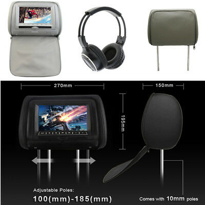 """7"""" TFT LCD Screen Car Headrest Monitor DVD Disk Game Player with Remote Control"""