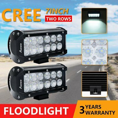 2x 7INCH 36W FLOOD CREE LED WORK LIGHT BAR OFFROAD ATV FOG TRUCK 4WD 12V 24V