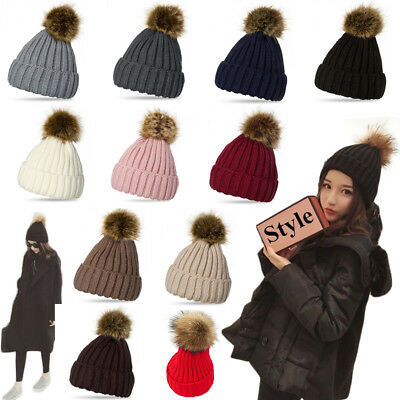 Womans Winter Hat Women Slouchy POM-POM Beanie Cap Skull Baggy Knit Ski Oversize