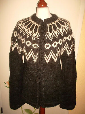 Island Norweger Strickjacke Wolle Hippie wool jacket Winter Strick braun M