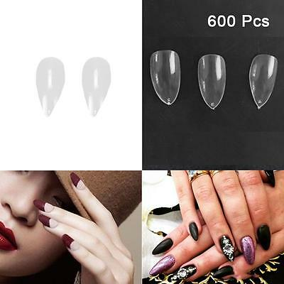 600Pcs Artificial Sharp Nails Tips False Fake Full Cover DIY Pointy Stiletto  PH