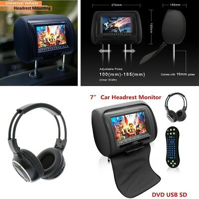 "7"" SUV Car Headrest Monitors w/DVD Player/USB/IR Remote With Headset -Black"