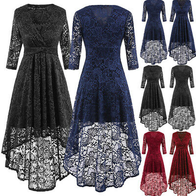 New Women's Vintage Lace Bodycon Dress Ladies Evening Party Formal Skater Dress