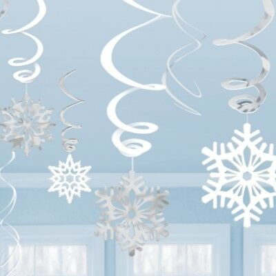 12 Dangling Christmas Blue Snowflake Swirls Hanging Party Decorations