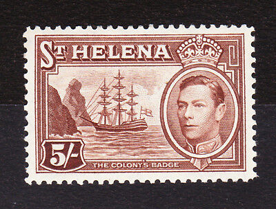 St Helena 1938 5/- Chocolate Sg 139 Mint.