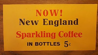 Vintage 50s Original NEW ENGLAND SPARKLING COFFEE PAPER STORE Window Sign Poster