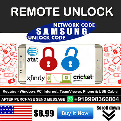 Instant Remote Unlock Code Service For Cricket Xfinity Samsung S8/S8+ S8 Plus
