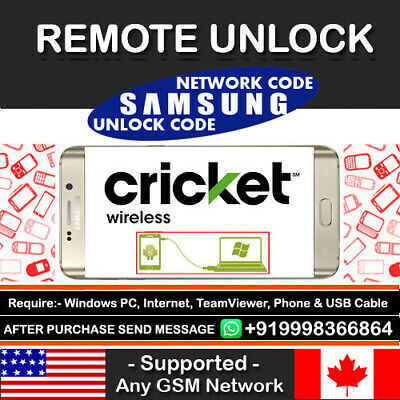 Instant Remote Unlock Code Service For Cricket Samsung Galaxy S7 S8 S8+ Note 8