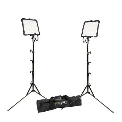 Daylight Flexible Portable Dimmable Panel LED Twin Kit with Stands Case 5500K