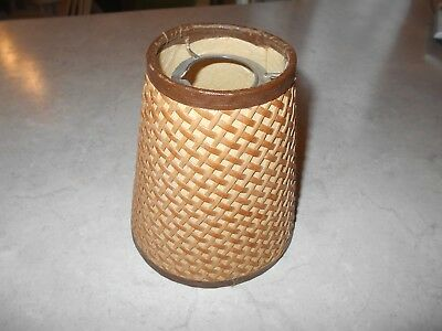 "Vintage Mid century small fiberglass wicker rattan lamp shade 5 1/2"" tall"