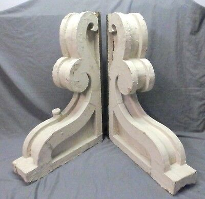Large Pair Antique Shabby Wood Victorian Corbels Roof Brackets Vtg Chic 634-17P