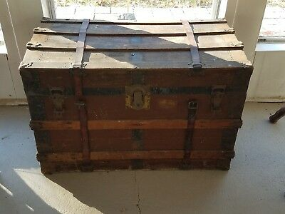 """Antique Steamer Wood Trunk 34""""x21""""x24"""" Large Storage Box Chest Coffee Table"""