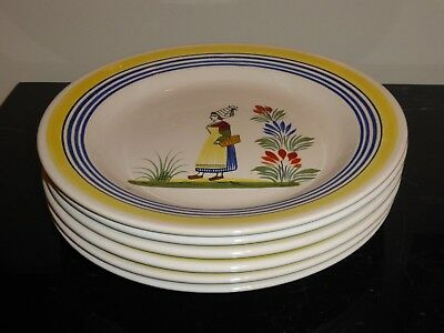 6 Henriot Quimper Dinner Plates Made For Rotisserie Normande Restaurant
