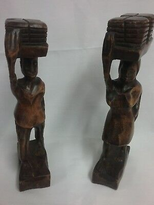 Vintage Wooden Statues  Handcarved  Folk Art