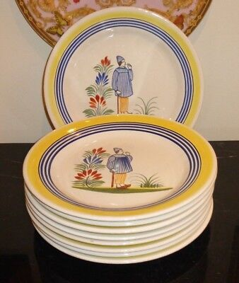 Henriot Quimper Dinner Plates Made For Rotisserie Normande Restaurant (9)
