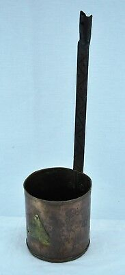 Antique Russian Otto Muller Signed 1880s Copper Ladle or Dipper with brass Tag