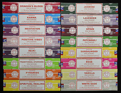 80 SCENTS to choose 15g SATYA Nag Champa Incense Insence Sticks Floral Spiritual