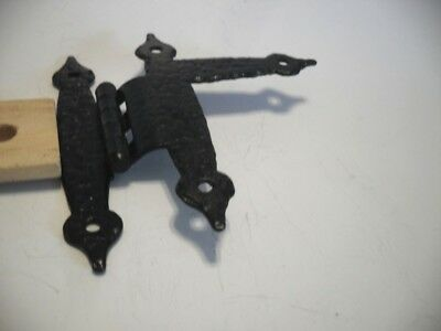 "1 Vintage BLACK Hammered LEFT Upper Cabinet HINGE H-L  3/8"" Offset Ferum Italy"
