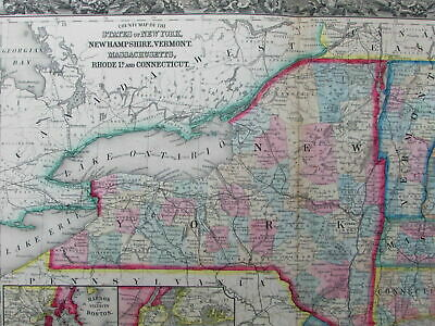 New England NY VT MA NH CT Maine uncommon 1860 Mitchell vintage color map