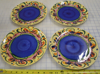 Gail Pittman Glory Hand Painted Ceramic Dinner Plate Dish Lot of 4 - Small Chips