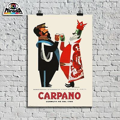 Poster Vintage Serie Carpano Vermouth Re Vittorio Emanuele Brindisi Punt E Mes