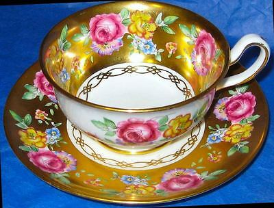 Floral Rose Bouquet all Gold Royal Chelsea Tea Cup and Saucer Vintage Teacup