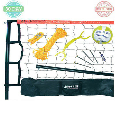 Portable Volleyball Set Outdoor Sports Game Play 3-Pc. Telescopic Aluminum Pole