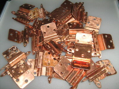 Lot of 36 vintage Antique COPPER Plated Steel Hinges Cabinet Door Hardware