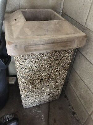 Cement Trash Can Pebble Finish Heavy Duty Commercial -