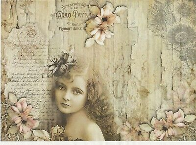 Rice Paper for Decoupage Decopatch Scrapbook Craft Sheet Vintage Girl and flower