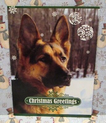 German Shepherd Dog Christmas Greeting Card W/ Envelope