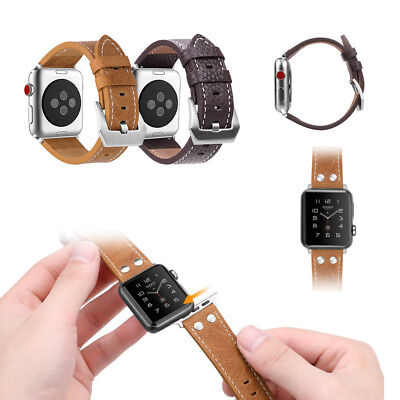 For Apple Watch Band 42mm Series 3 Series 2 Series 1 Genuine Leather Strap Wrist