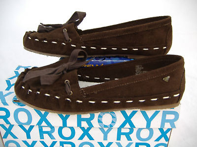 New Womens 8 ROXY Corazon Brown Leather Moccasin Boat Shoes $49
