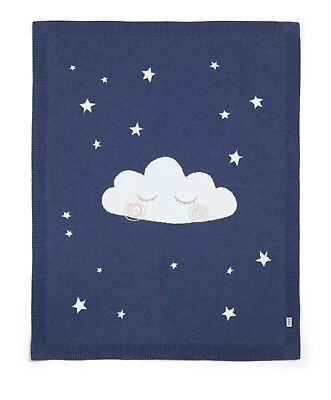 Mamas & Papas Cloud Knitted Blanket, Navy. Brand New
