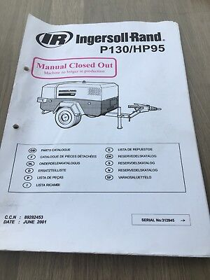 Ingersoll Rand P130/hp95 Air Compressor  Parts Manual No Outer Cover Inc Vat