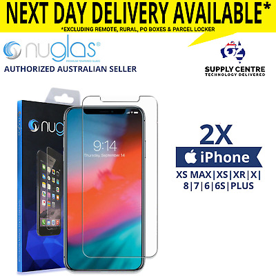 2xGENUINE NUGLAS Apple iPhone Screen Tempered Glass Protector 6 S 7 8 XR XS Max