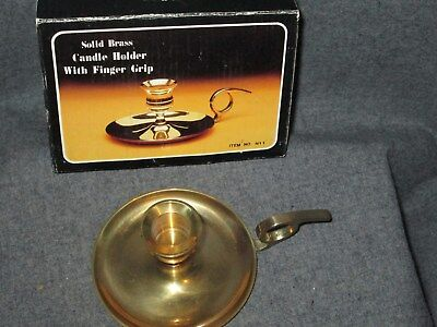 "Solid Brass Candle Holder  2 1/4"" Decorative Finger Grip Original Box Item N11"