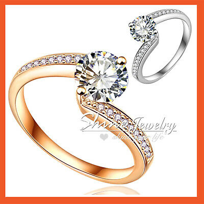 18K Gold Gf 2Ct Solitaire Lab Diamond Solid Lady Infinity Wedding Wave Band Ring