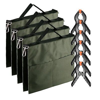 Neewer 4pcs Army Green Water Bag Weight Bag for Light Stand with 6 Spring Clamps