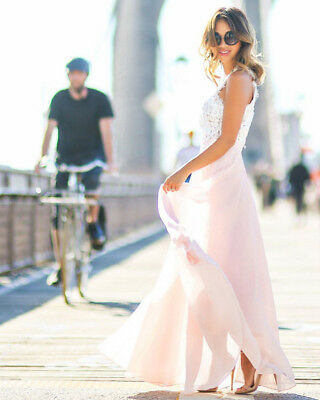 Pink Lace EveNew Lace Evening Formal  Party Ball Gown Prom Bridesmaid Long Dress